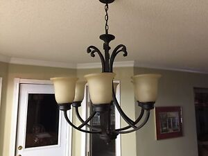 Oiled bronze chandelier espresso brown.