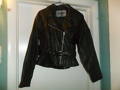 UNIK Black Leather Motorcycle Biker Jacket Ladies Medium VG !