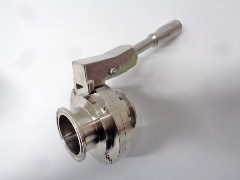 Butterfly Valve, Sanitary, Stainless Steel, Silicon, Waukesha/Tri-clover ends.