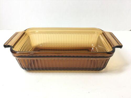"Vintage 1409 Anchor Hocking Amber Glass Baking Dish Loaf Pan 5"" x 6"" 1 qt"