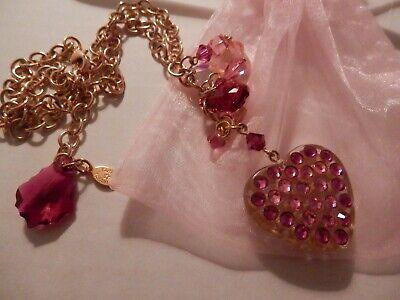 14k Gold Plate Chain (Tarina Tarantino PINK Crystal HEART Necklace   14k Gold Plate Chain  NWT )