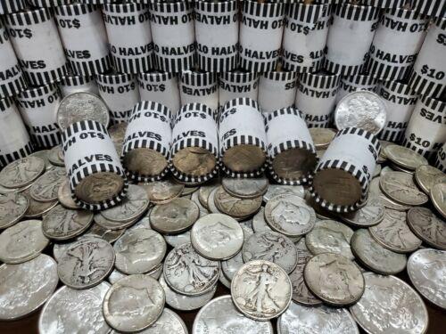 UNOPENED HALF DOLLAR BANK SHOTGUN ROLLS HALVES COINS LOT POSSIBLE 40% 90% SILVER