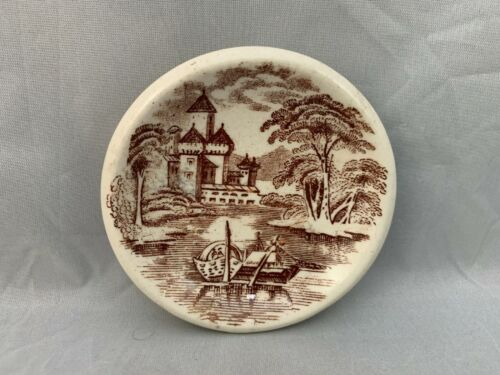 Vintage Brown Transferware Butter Pat Small Round Dish Castle Scene