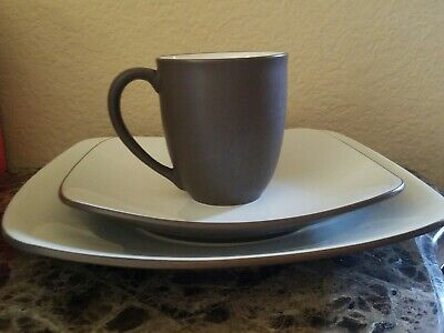 NEW NORITAKE STONEWARE COLORWAVE CHOCOLATE SQUARE 3 PIECE PLACE SETTING