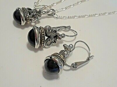 Necklace and clip on earring set. silvertone with black oval -