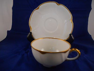 Cup and Saucer Set, Theodore Haviland Limoges, Schleiger 805, Gold Daubs