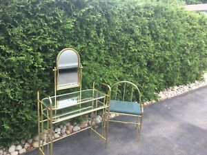 Brass vanity table and chair