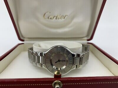 Rise-on Must de Cartier 21 Stainless Steel Silver Vintage Quartz Watch 15552