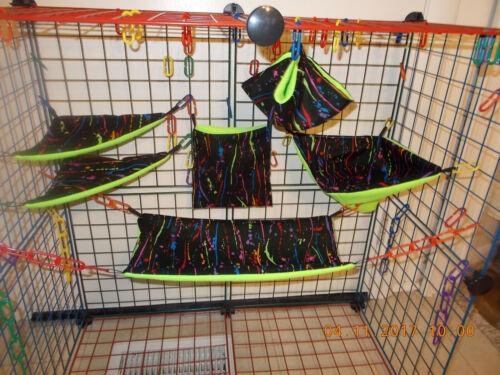NEON  PAINT DRIPS  Sugar Glider 6 pc cage set
