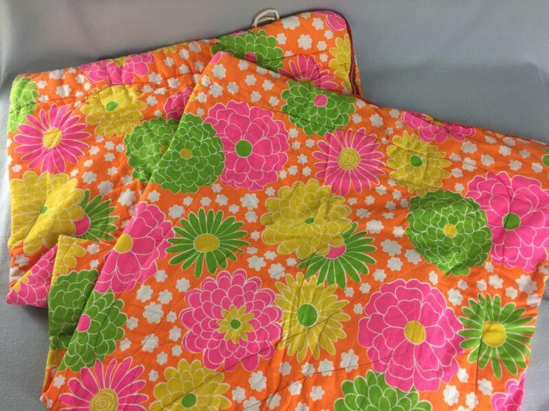 Vintage 70s Flower Power Sleeping Bag Floral Print Pink Orange Green Yellow
