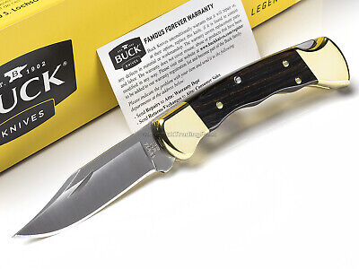 Buck 112 Ranger Folding Hunter Knife Finger Groove Crelicam Ebony USA 112BRSFG