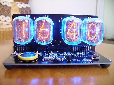 IN-12 NIXIE TUBES CLOCK BLACK PCB WITH BLUE BACKLIGHT