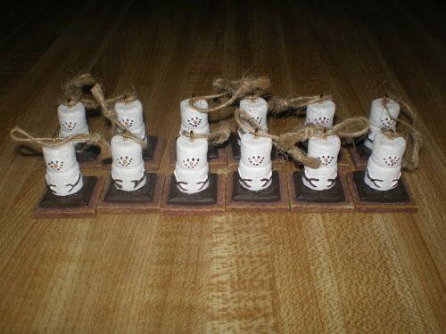 12 Mini Smores Christmas Tree Ornaments EUC Snowman, Resin