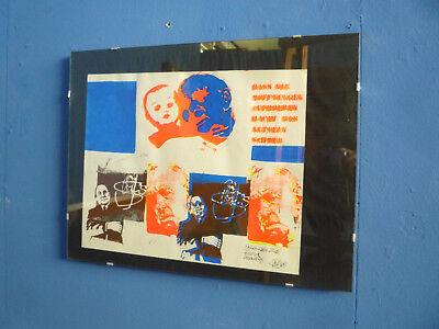 Kunst Plakat Fehldruck von Walter Brudi 1969 Signiert