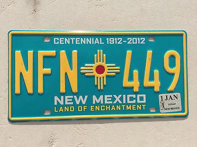 """NEW MEXICO CENTENNIAL LICENSE PLATE """" NFN 449 """" NM 1912 2012"""