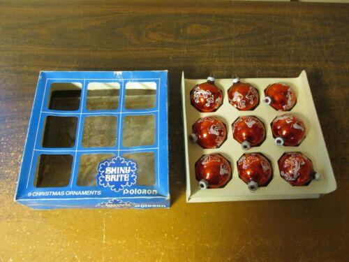 Vintage Box of 9 Shiny Brite Glass Christmas Ornaments Mushrooms Red