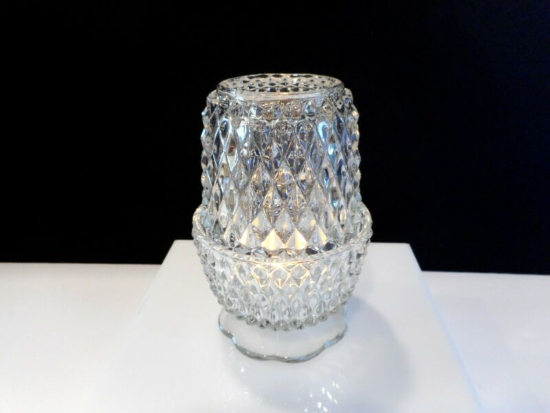 Vintage INDIANA GLASS Diamond Point Fairy Lamp / Angel Light Candle Holder-Clear