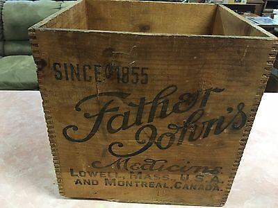 ANTIQUE American Primitive FATHER JOHN'S LOWELL, MA MEDICINE ART WOOD BOX