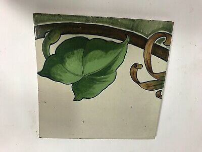 Antique Cantagalli Firenze Italian Majolica Ceramic Tile Hand Painted Italy Antiqued Green Italian Ceramic