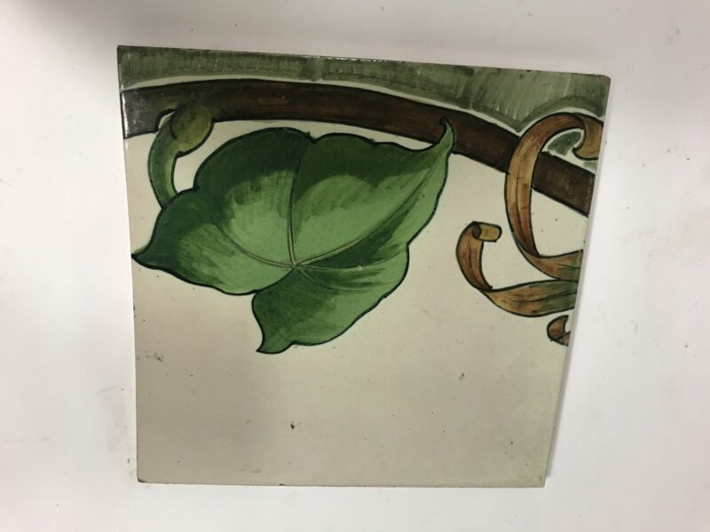 Antique Cantagalli Firenze Italian Majolica Ceramic Tile Hand Painted Italy