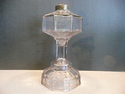 """Antique EAPG Glass pedestal Kerosene Oil table Lamp - 9"""" tall - 8 panel"""