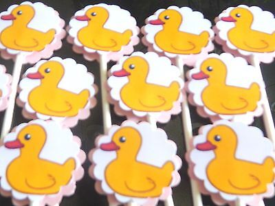 15 BABY DUCK  Cupcake Toppers Birthday Party Favors, Baby Shower Decoration - Baby Shower Decorations Ducks