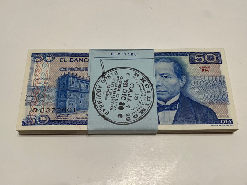1978 Mexico Lot (100) Notes $ 50  Pesos Mexican Banknotes UNC Serie FH