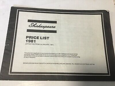 retro Shakespeare trade price list 1981 fishing tackle guide Catalogue