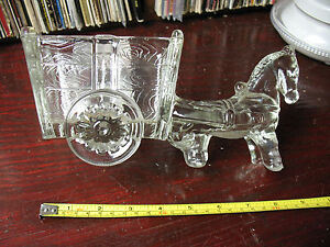 DONKEY-CART-DEPRESSION-GLASS-CANDY-CADDY-LARGE-MINT