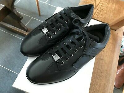 Versace black leather trainers size 8 (42) bnib
