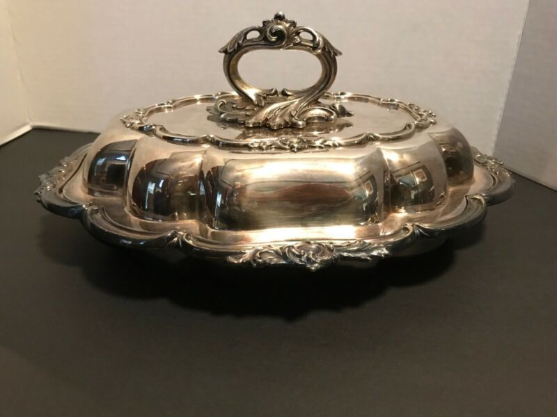Vintage Oval Silver Plate Serving Dish with Cover