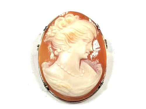 Gold Tone Hand Carved Right Facing Shell Cameo Pendant/Brooch, 30.5mm by 23.2mm