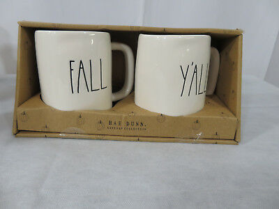 New Rae Dunn Thanksgiving Halloween Fall Y'All Mug Set 2018 Rare Htf