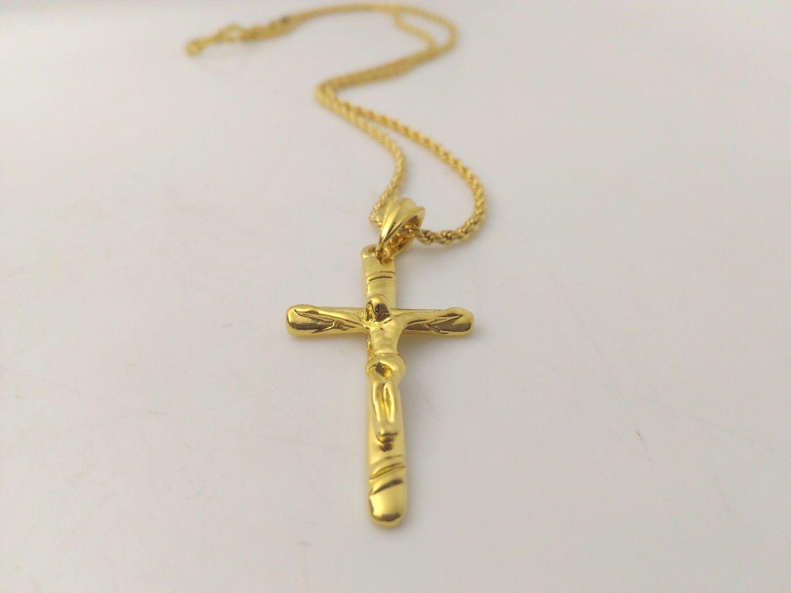 Collana Ciondolo Croce Oro Gioielli Unisex Uomo Donna Crocifisso con cristo