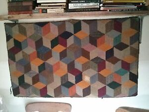 Very old hooked rug.  Rare geometric