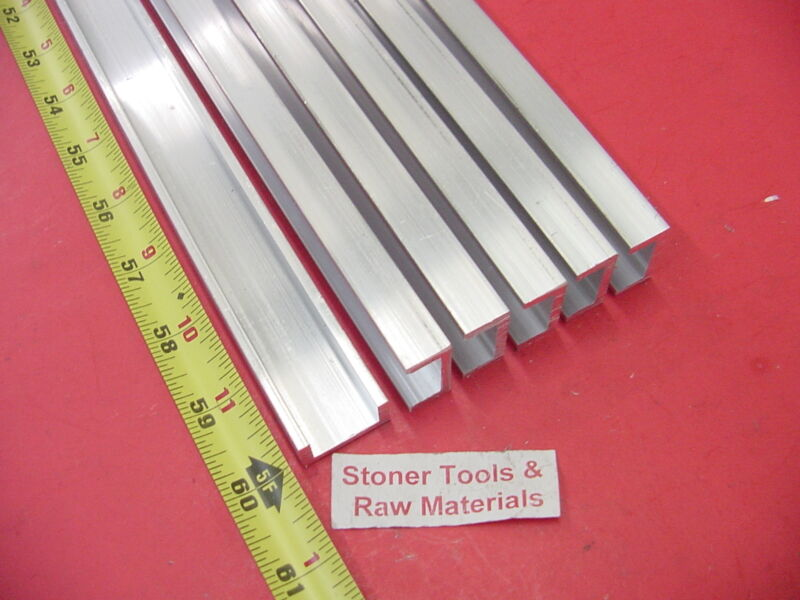 """6 Pieces 1""""x 1/2"""" ALUMINUM CHANNEL 6063 X 1/8"""" Wall 60"""" long T52 Mill Stock 30"""