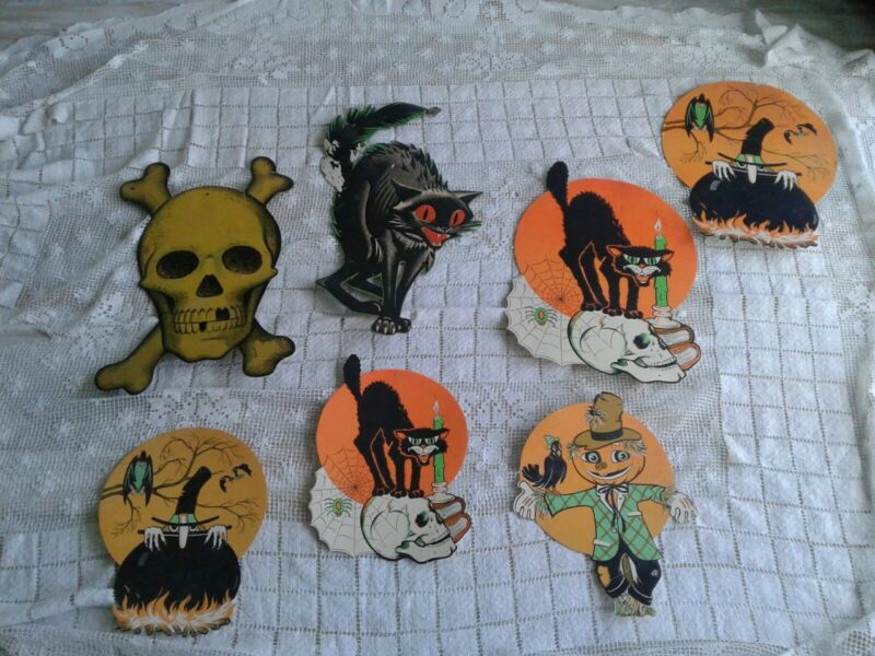 SEVEN Vintage. ASSORTED BEISILE HALLOWEEN Retro  Cutout Die Cuts DECORATIONS