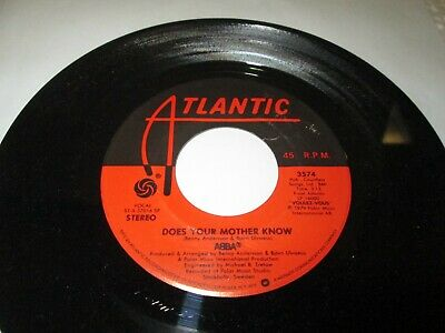"ABBA DOES YOUR MOTHER KNOW 45 7"" NM NEAR MINT US ATLANTIC ORIGINAL VINYL LISTEN"