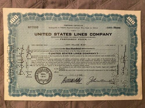 United States Lines Co Preferred Stock Certificate 100 Shares 1931