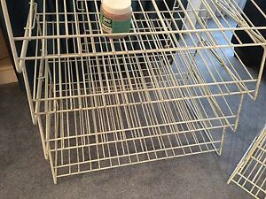 Metal  rack shelving by Duncan, $95 for all.