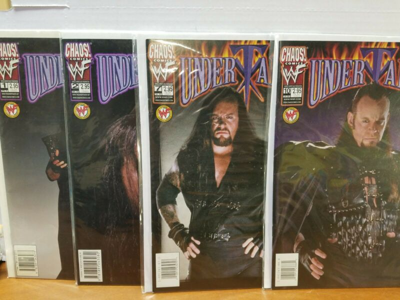 Lot of 4 VF 1,2,7,10, Chaos Comics WWF Undertaker Comic Books Photo & Art Covers