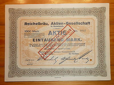 D: BRAUEREI: Reichelbräu AG in  Kulmbach, 1923, 1000 Mark*