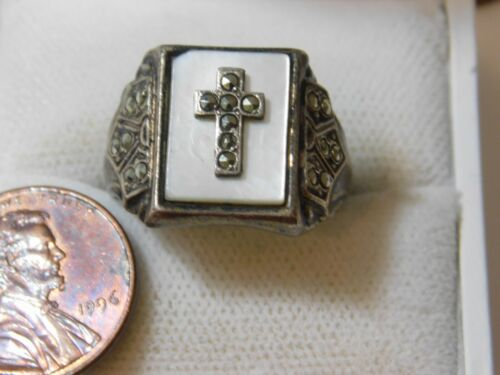 Religious Cross White Mother of Pearl Marcasite Signet Silver sz 8.5 Ring  8k 10