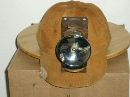 ANTIQUE MINERS CORDUROY HAT WITH JUSTRITE CARBIDE LAMP and DUSTFOE