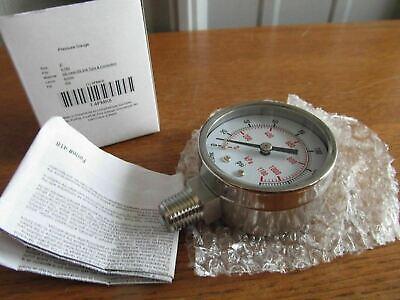 Stainless 2 Airwater Etc. Pressure Gauge 14npt 0-160psi Ss 4fmk8 U-75