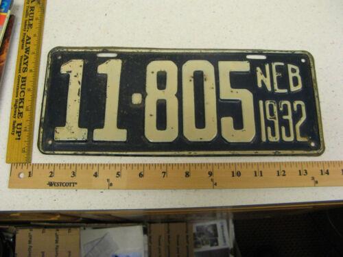 1932 32 NEBRASKA NE LICENSE PLATE #11-805 OTOE COUNTY -