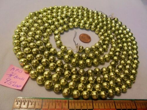 "Christmas Garland Mercury Glass, Chartreuse, 95"" Long 3/8"" Beads, AP13, Vintage"