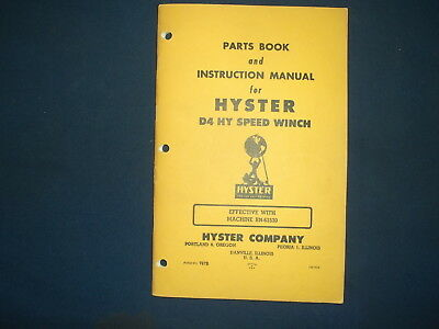 Hyster D4 Hy Speed Winch Parts Book Instructional Manual Cat D4 R4 Tractor