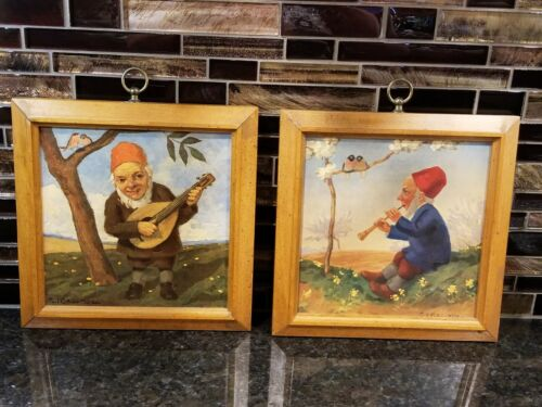 Vintage Gnomes Framed Prints Paul Lothar Muller Music Nature RARE SET!!