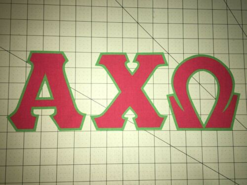 ALPHA CHI OMEGA - 5 INCH GREEK SORORITY IRON ON LETTERS (NO SEW) - RED/GREEN